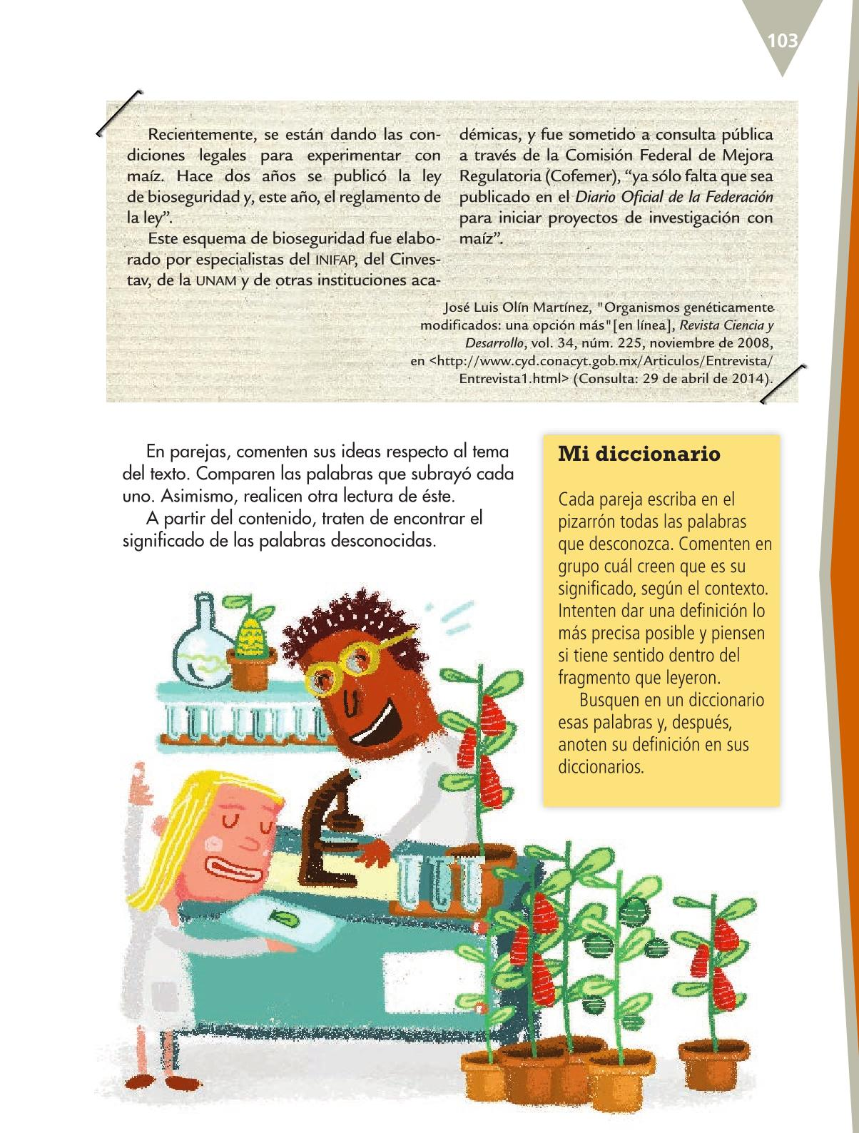 Español Libro para el alumnoquintoPagina 103