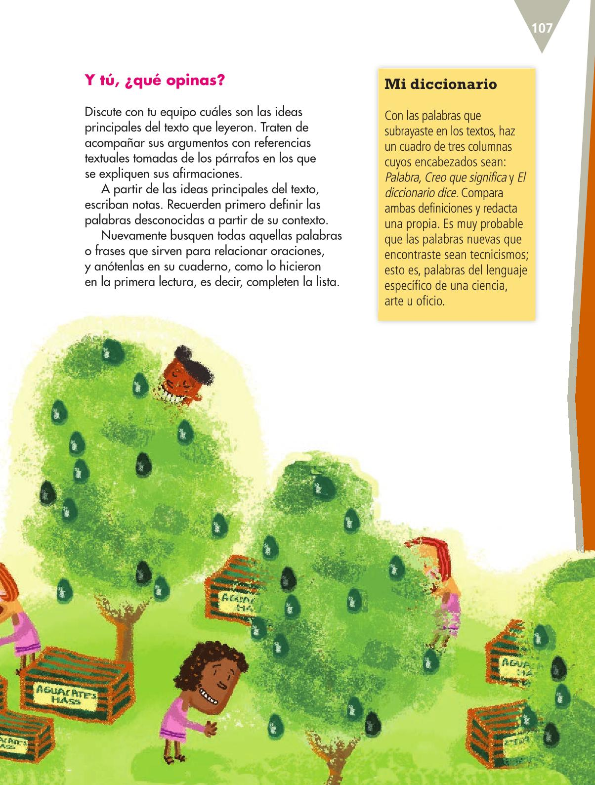 Español Libro para el alumnoquintoPagina 107