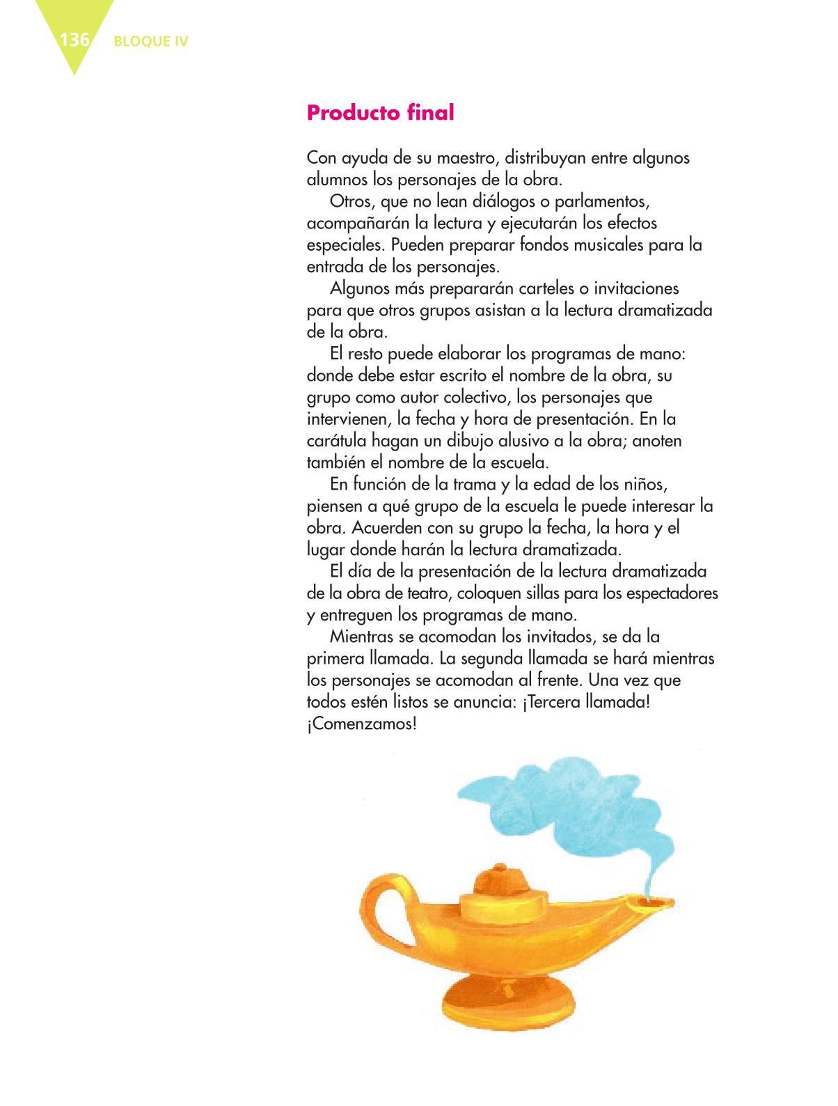 Español Libro para el alumnoquintoPagina 136