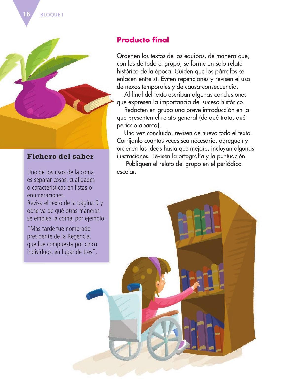 Español Libro para el alumnoquintoPagina 16