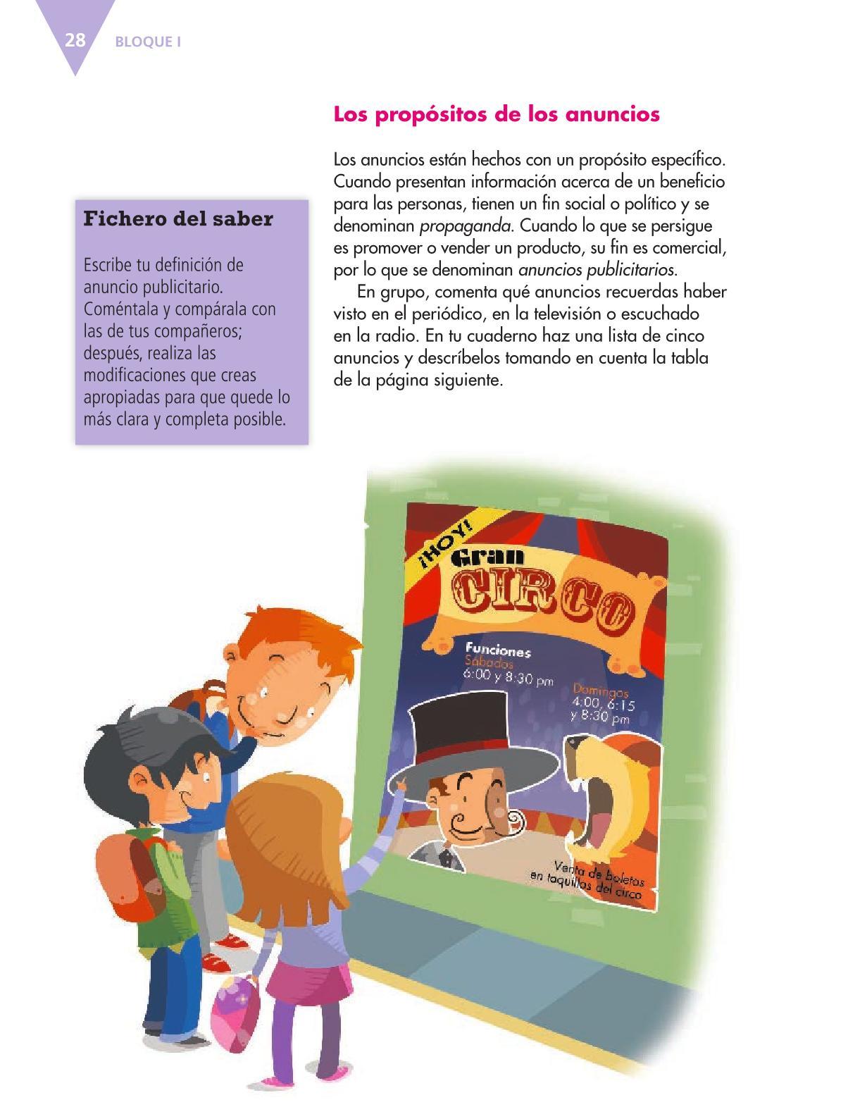 Español Libro para el alumnoquintoPagina 28