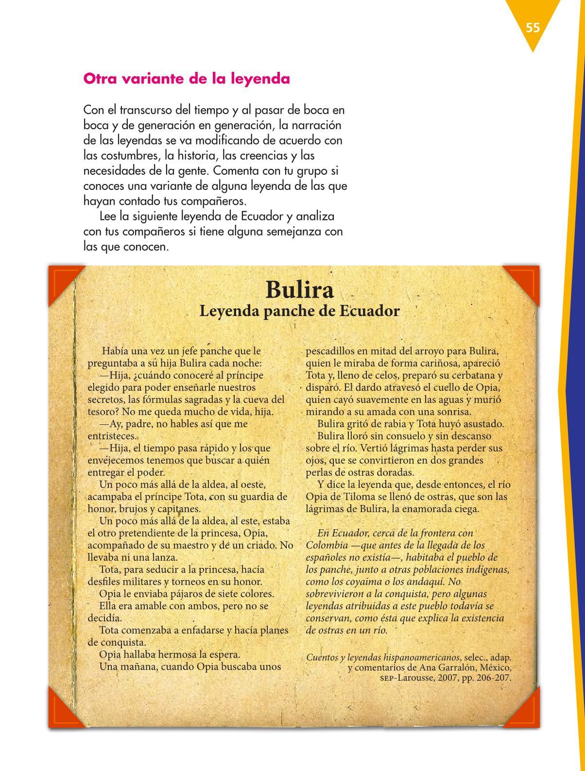 Español Libro para el alumnoquintoPagina 55