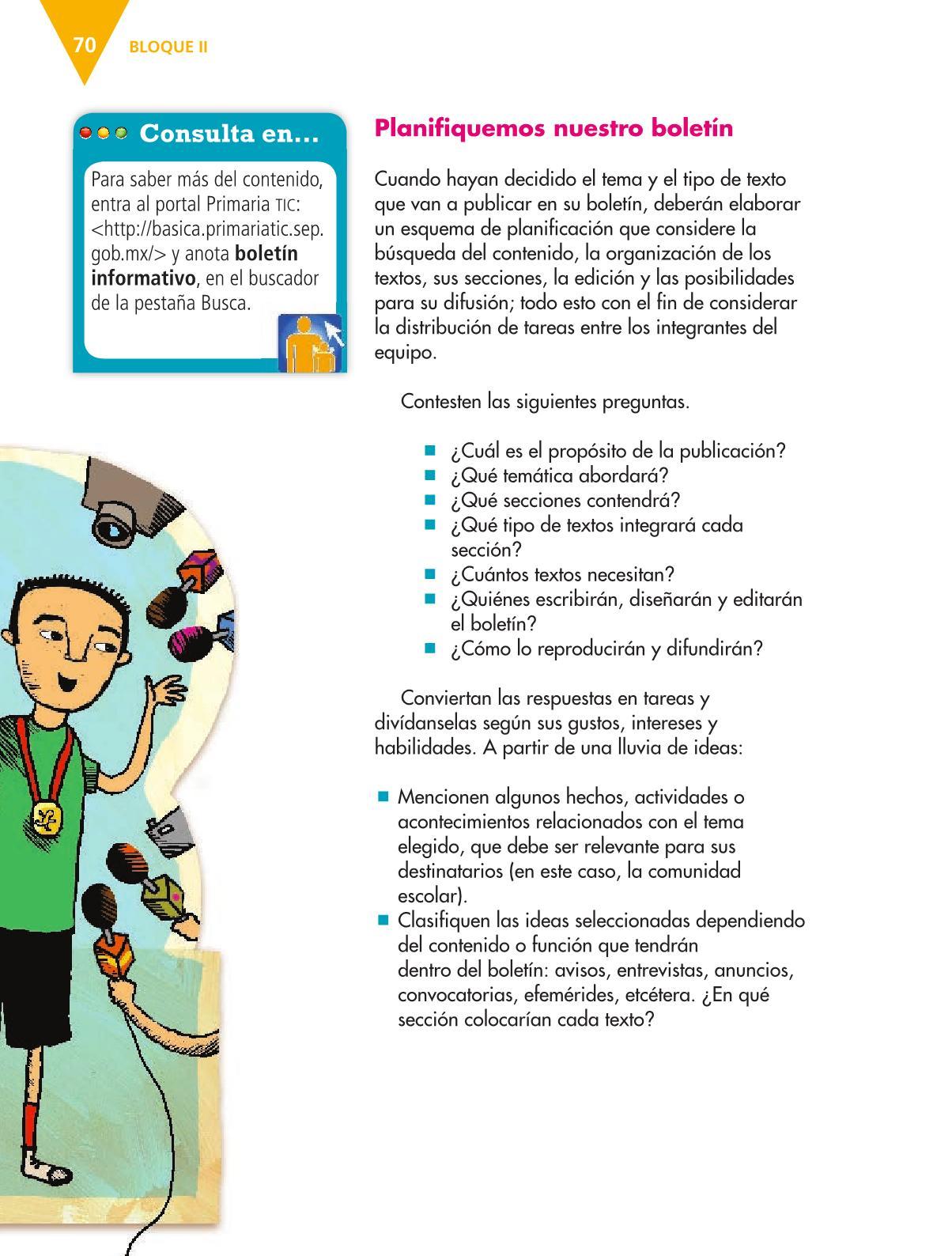 Español Libro para el alumnoquintoPagina 70