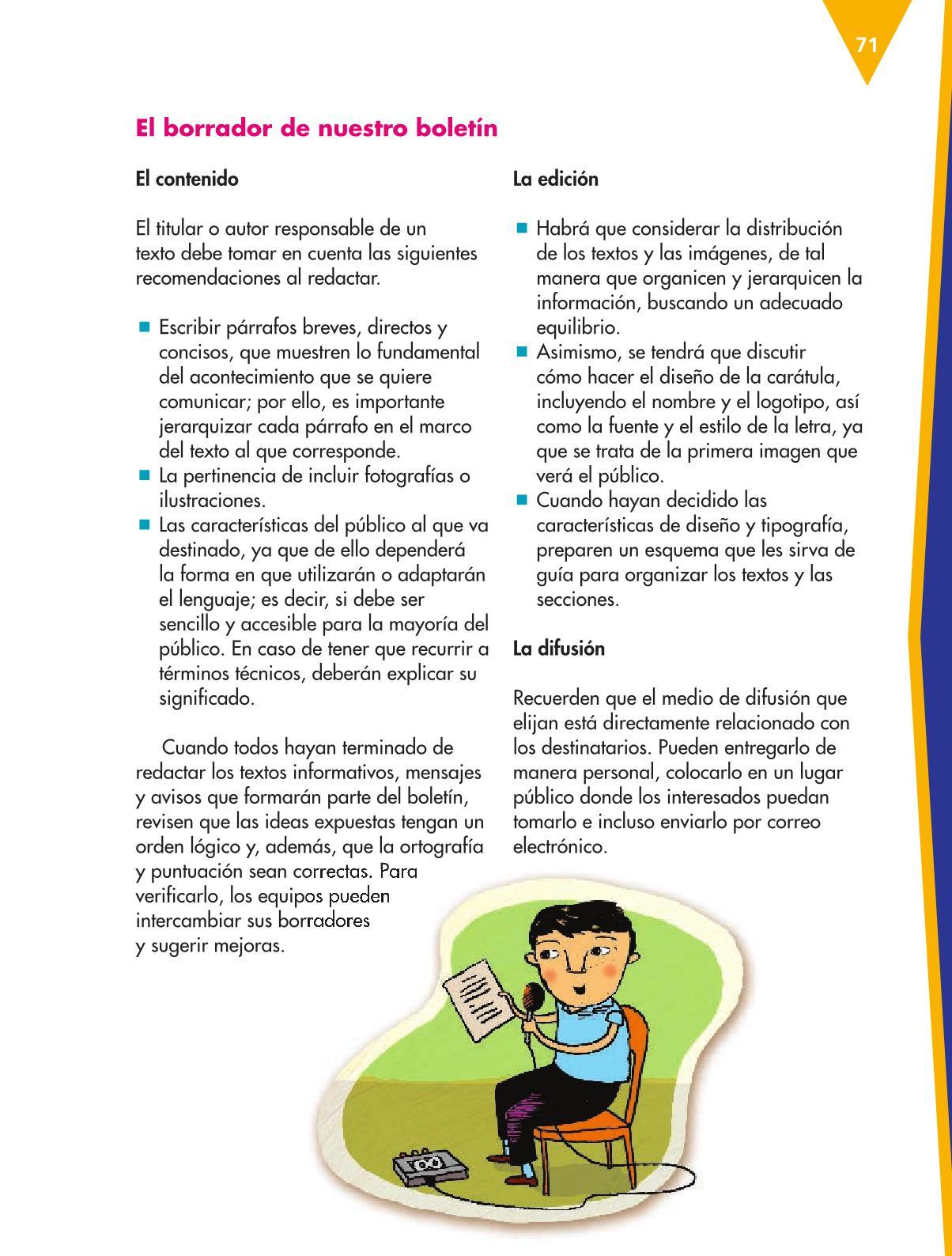 Español Libro para el alumnoquintoPagina 71