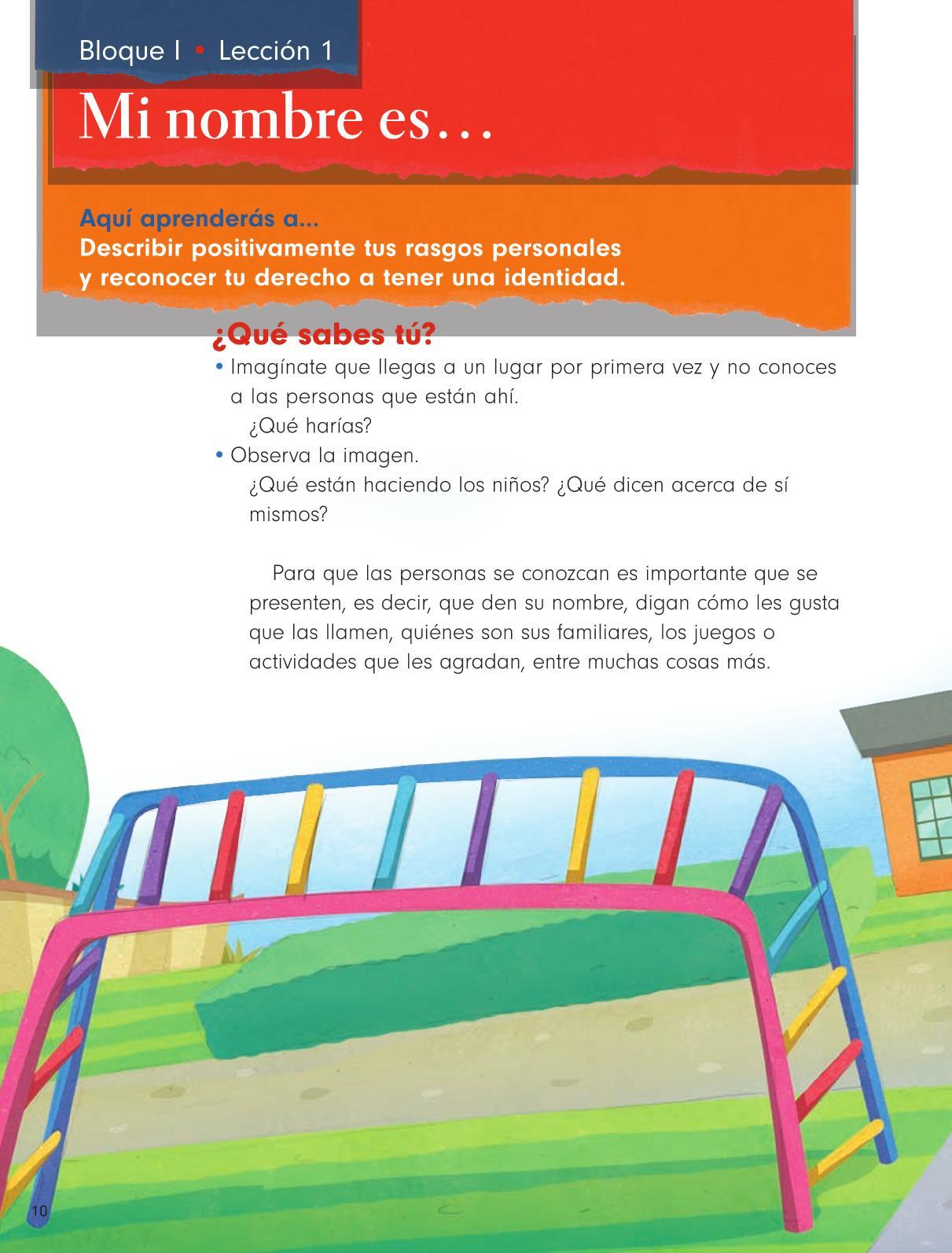 Formación Cívica y Ética Primer grado página 10