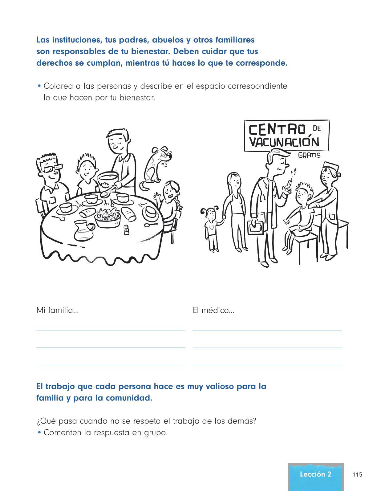 Formación Cívica y Ética Primer grado página 115