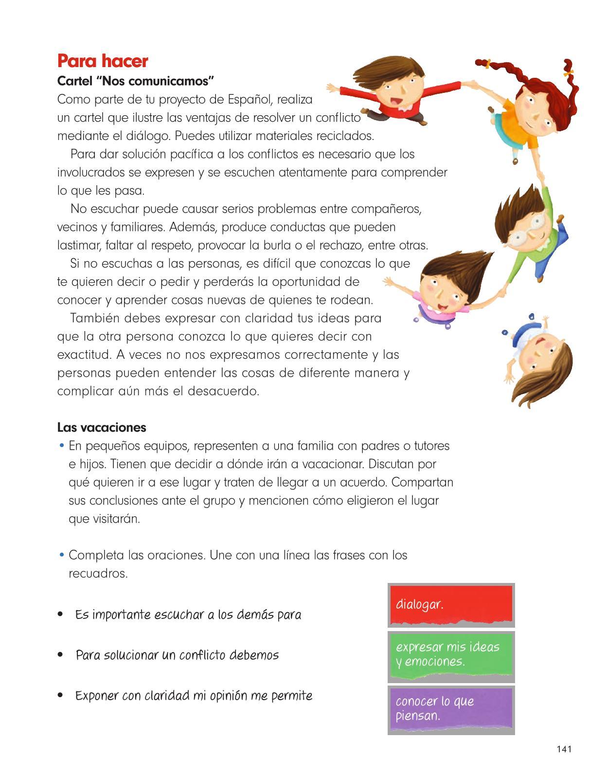 Formación Cívica y Ética Primer grado página 141