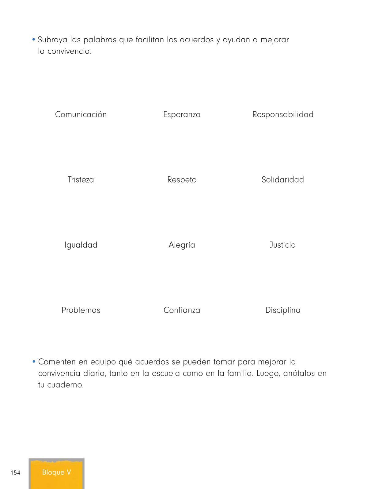 Formación Cívica y Ética Primer grado página 154