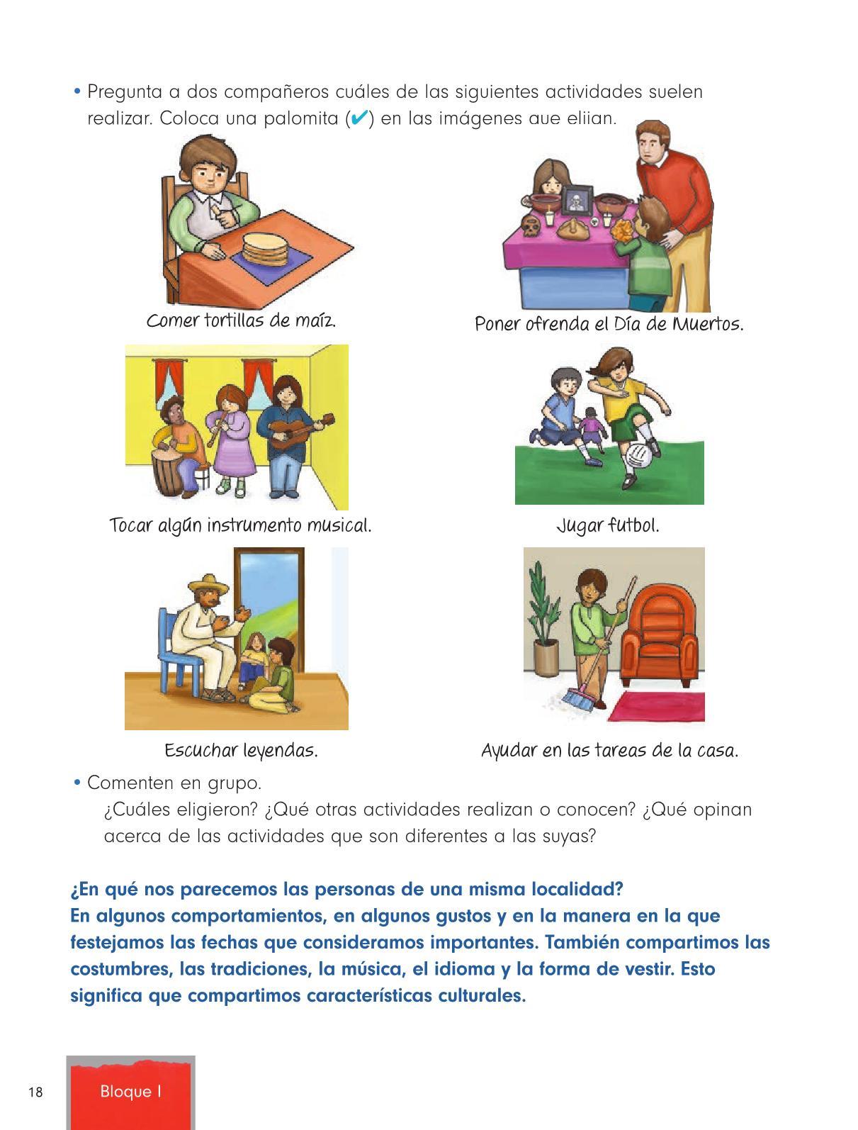 Formación Cívica y Ética Primer grado página 18
