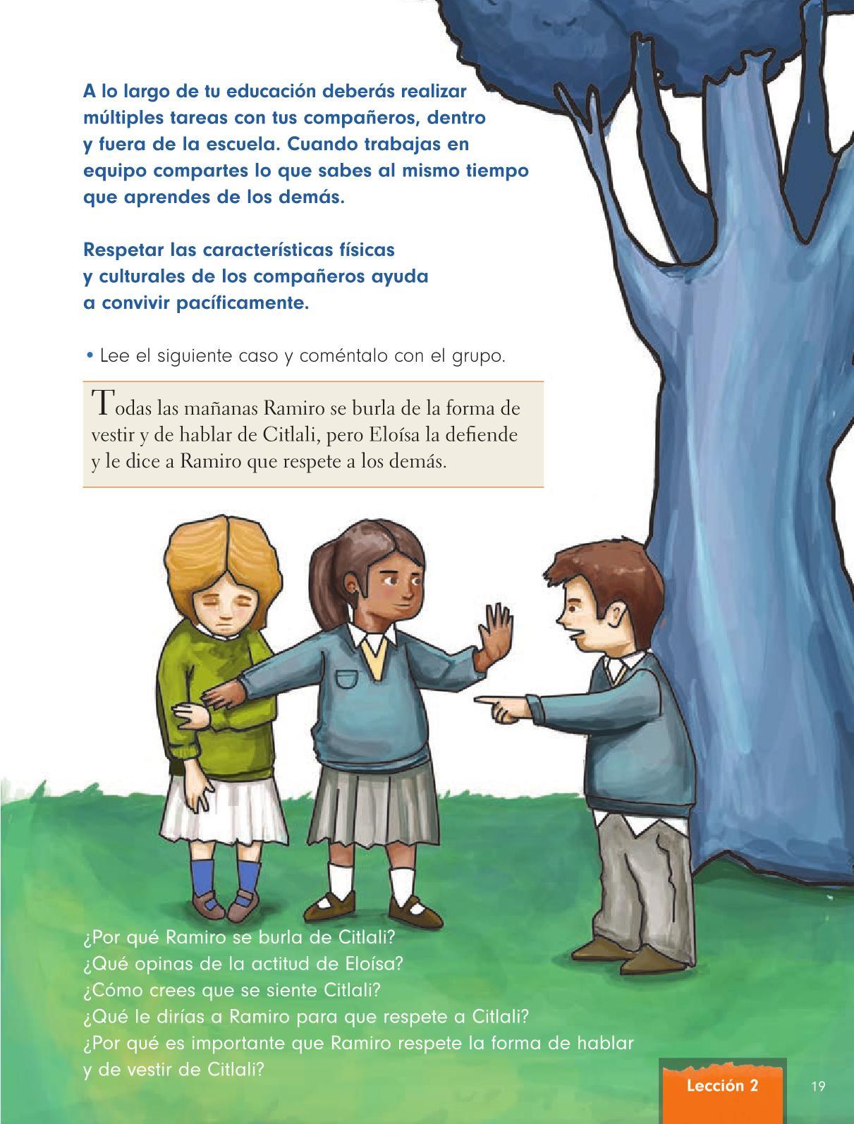 Formación Cívica y Ética Primer grado página 19