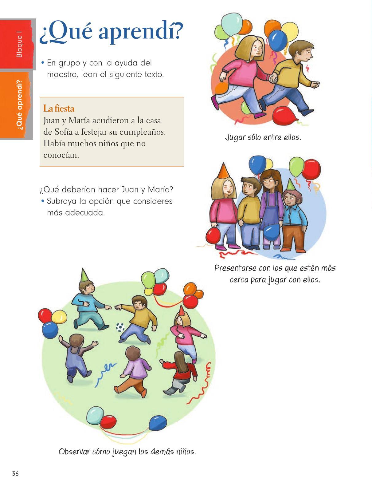 Formación Cívica y Ética Primer grado página 36