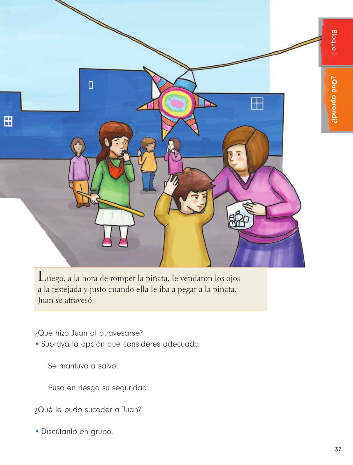 Formación Cívica y Ética Primer grado página 37