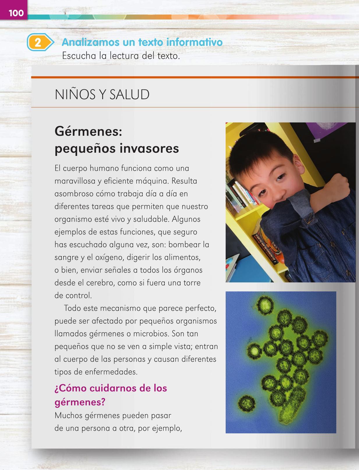 Lengua Materna Español Primer grado página 100