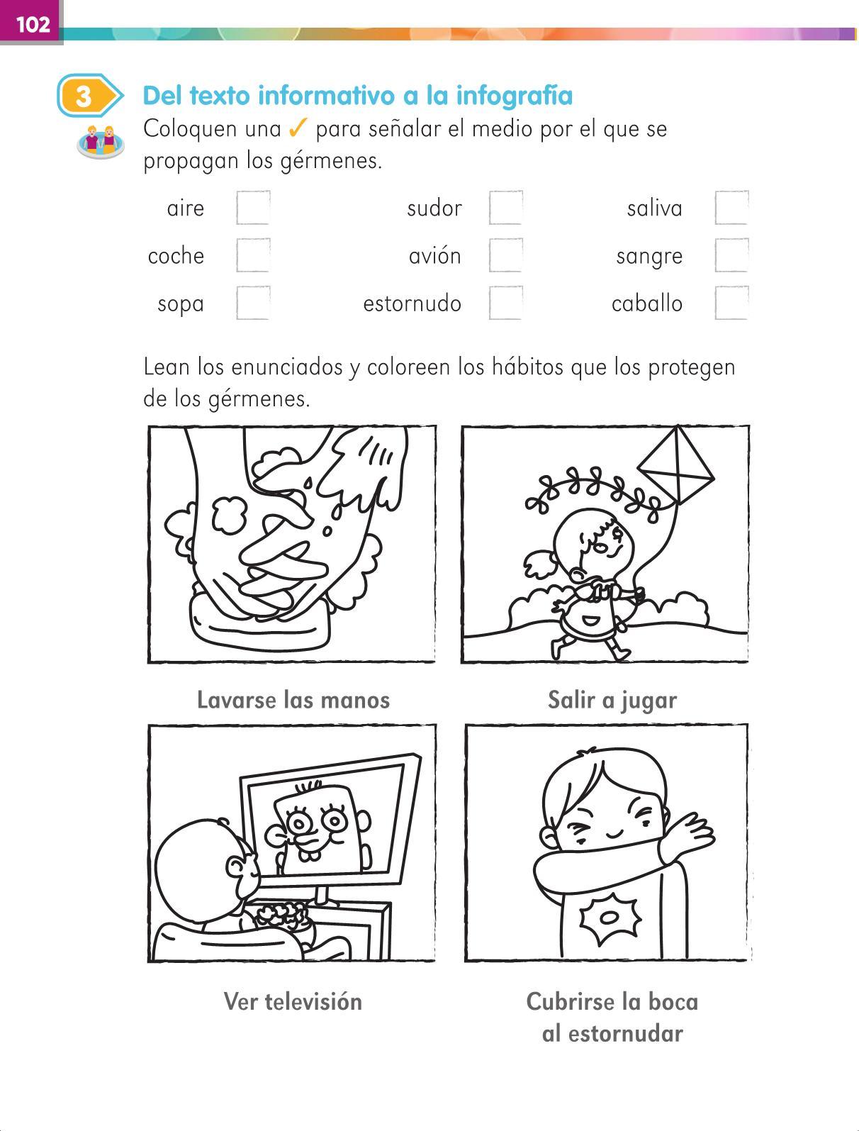 Lengua Materna Español Primer grado página 102