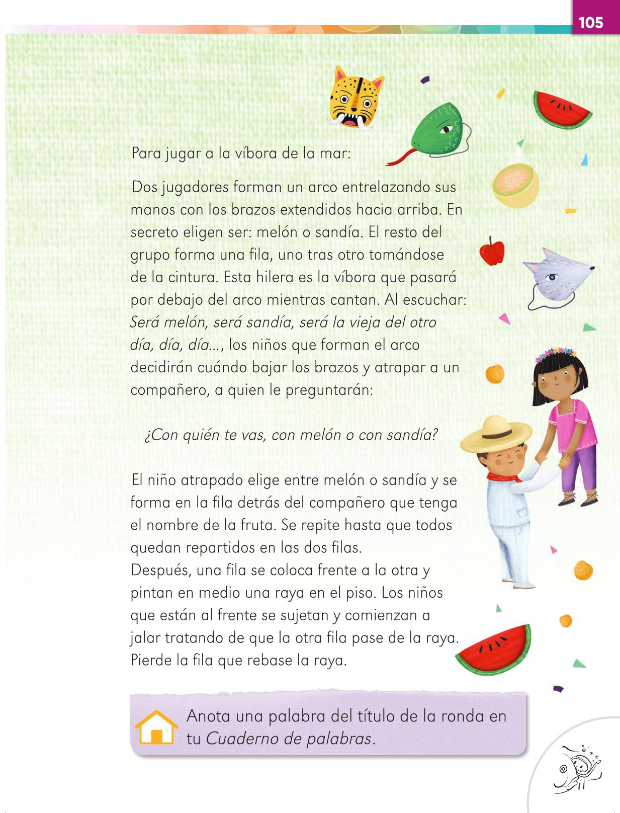 Lengua Materna Español Primer grado página 105
