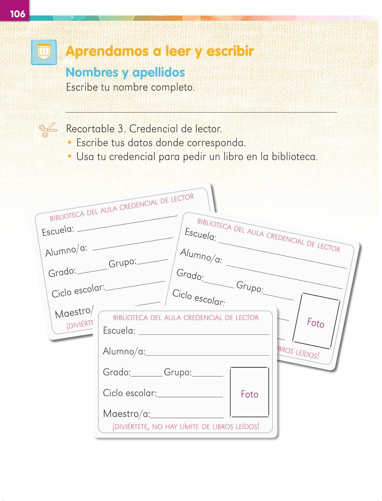 Lengua Materna Español Primer grado página 106