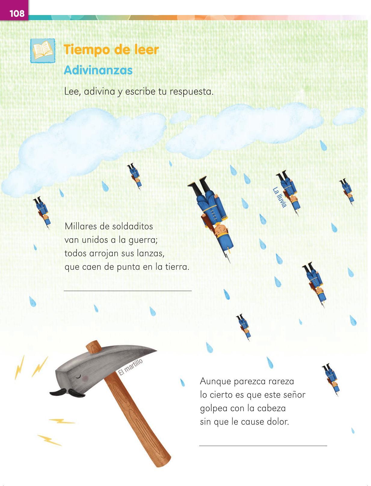 Lengua Materna Español Primer grado página 108