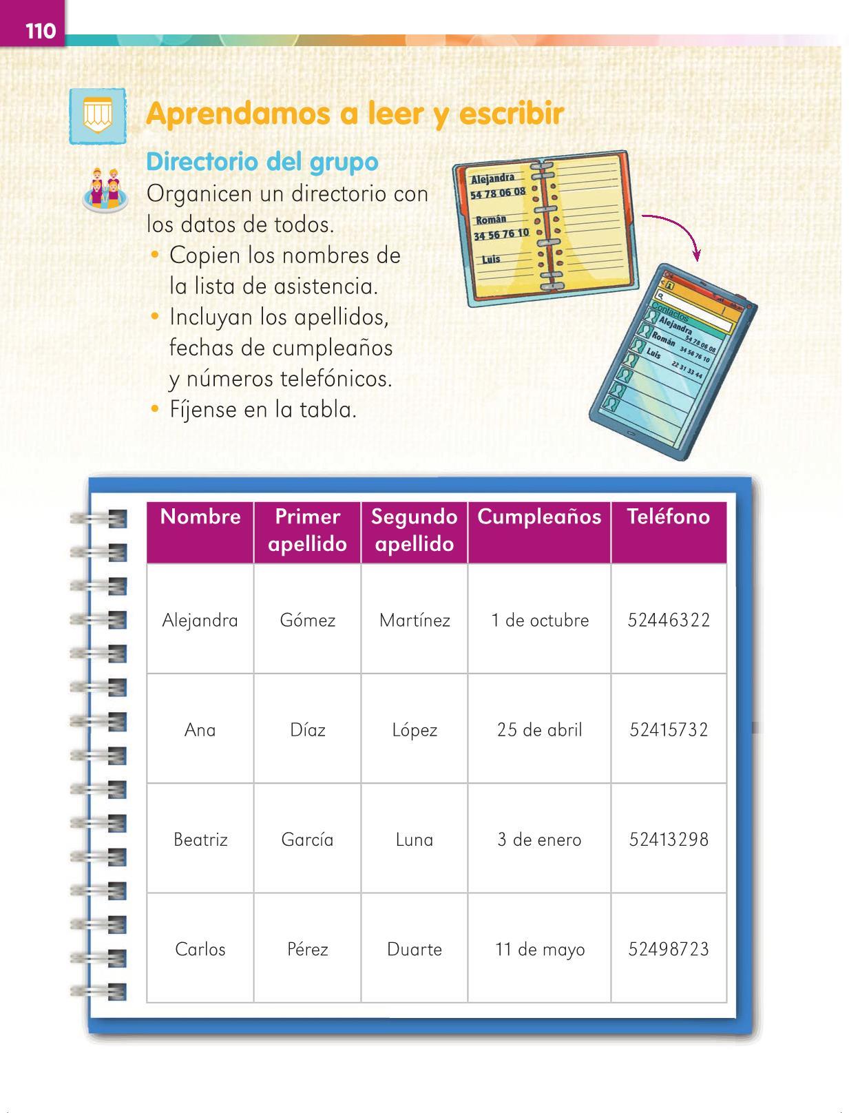 Lengua Materna Español Primer grado página 110