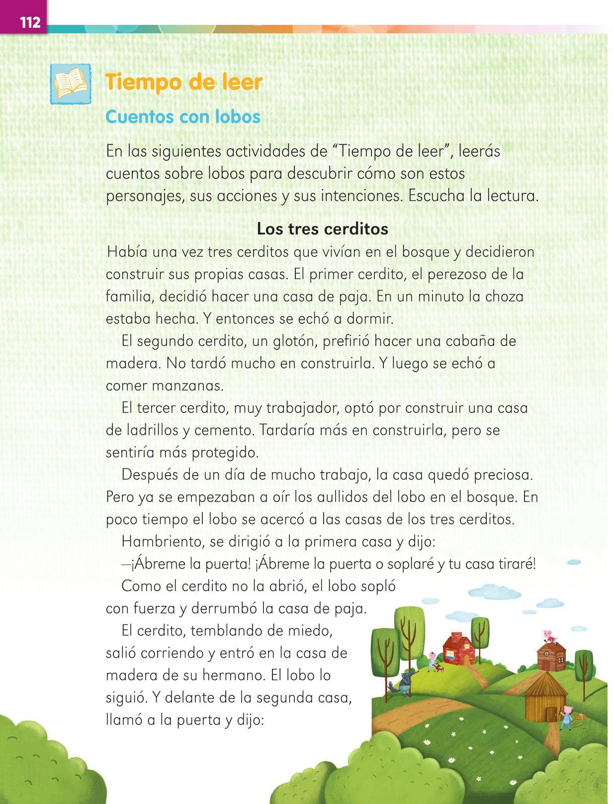 Lengua Materna Español Primer grado página 112