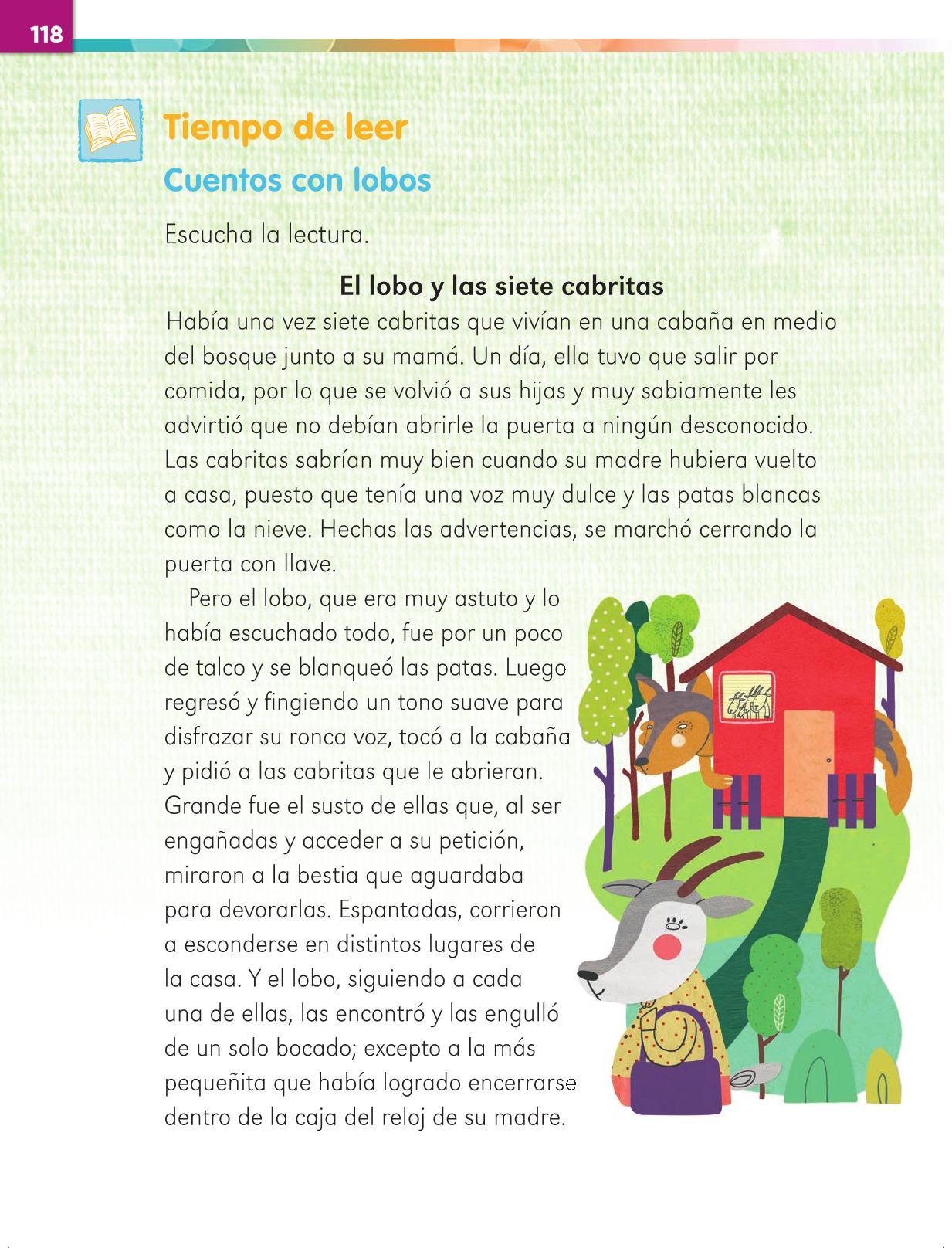 Lengua Materna Español Primer grado página 118