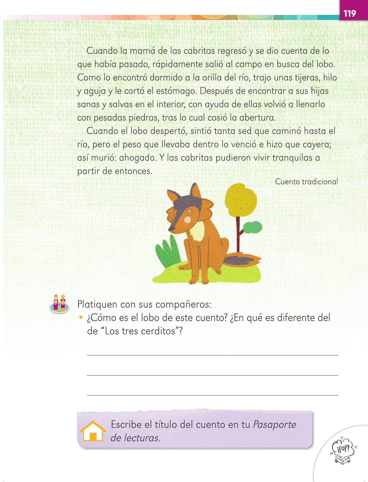 Lengua Materna Español Primer grado página 119