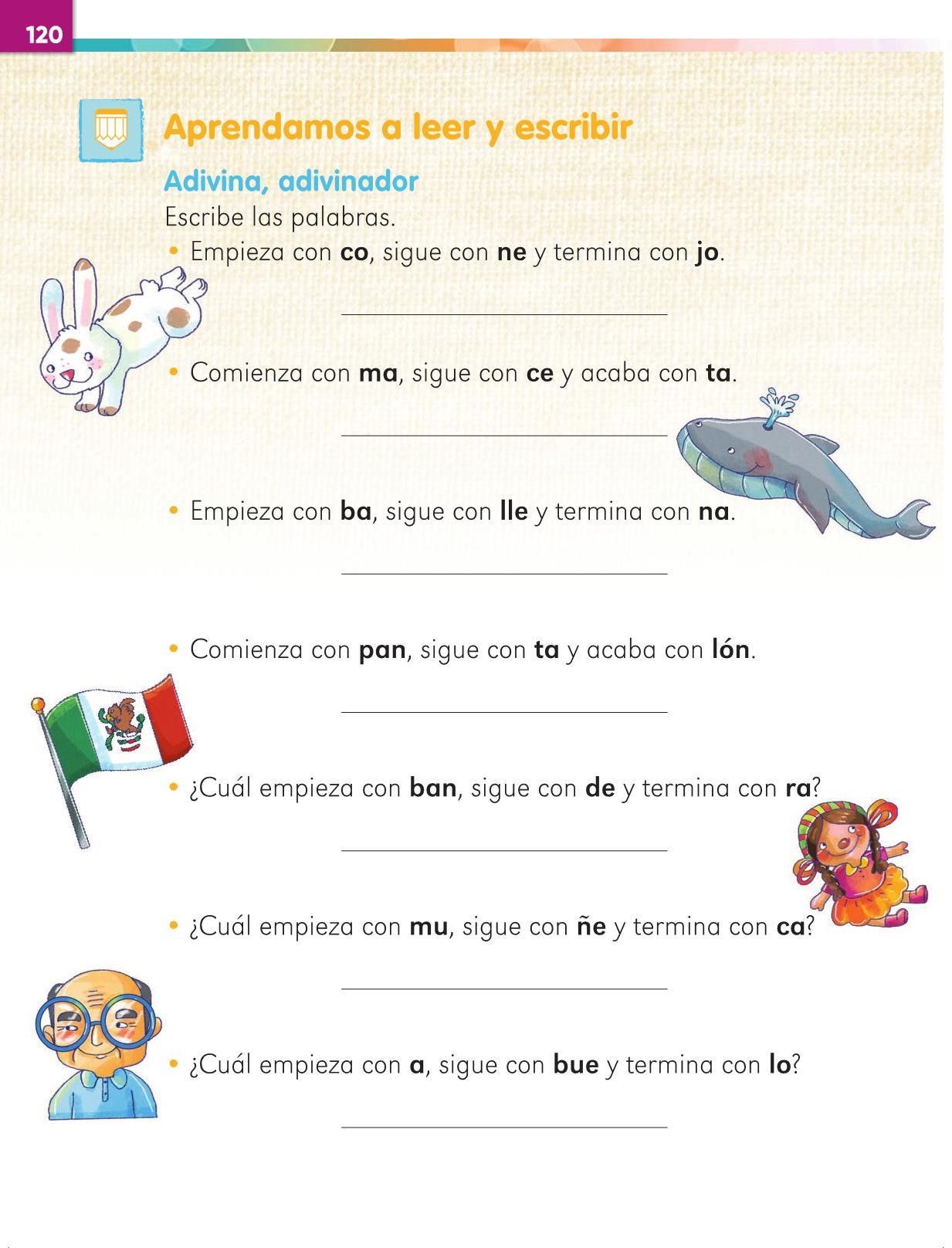 Lengua Materna Español Primer grado página 120