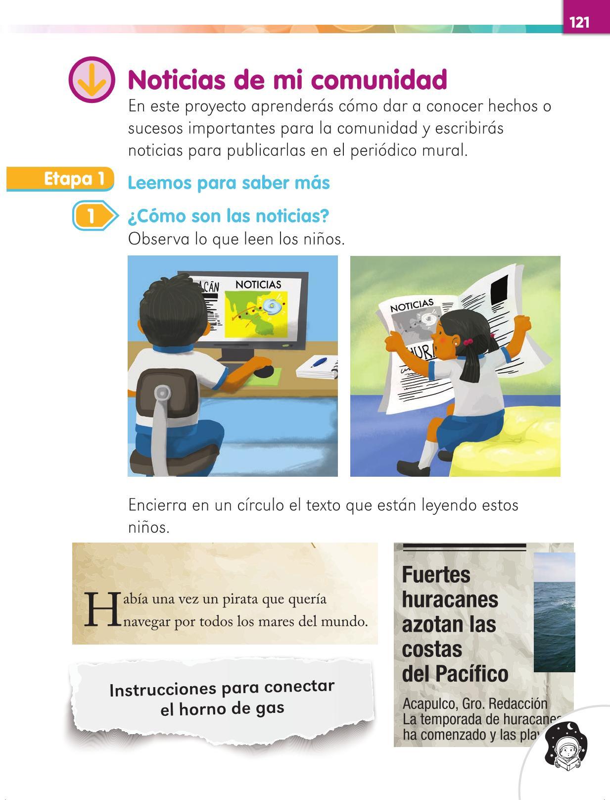 Lengua Materna Español Primer grado página 121