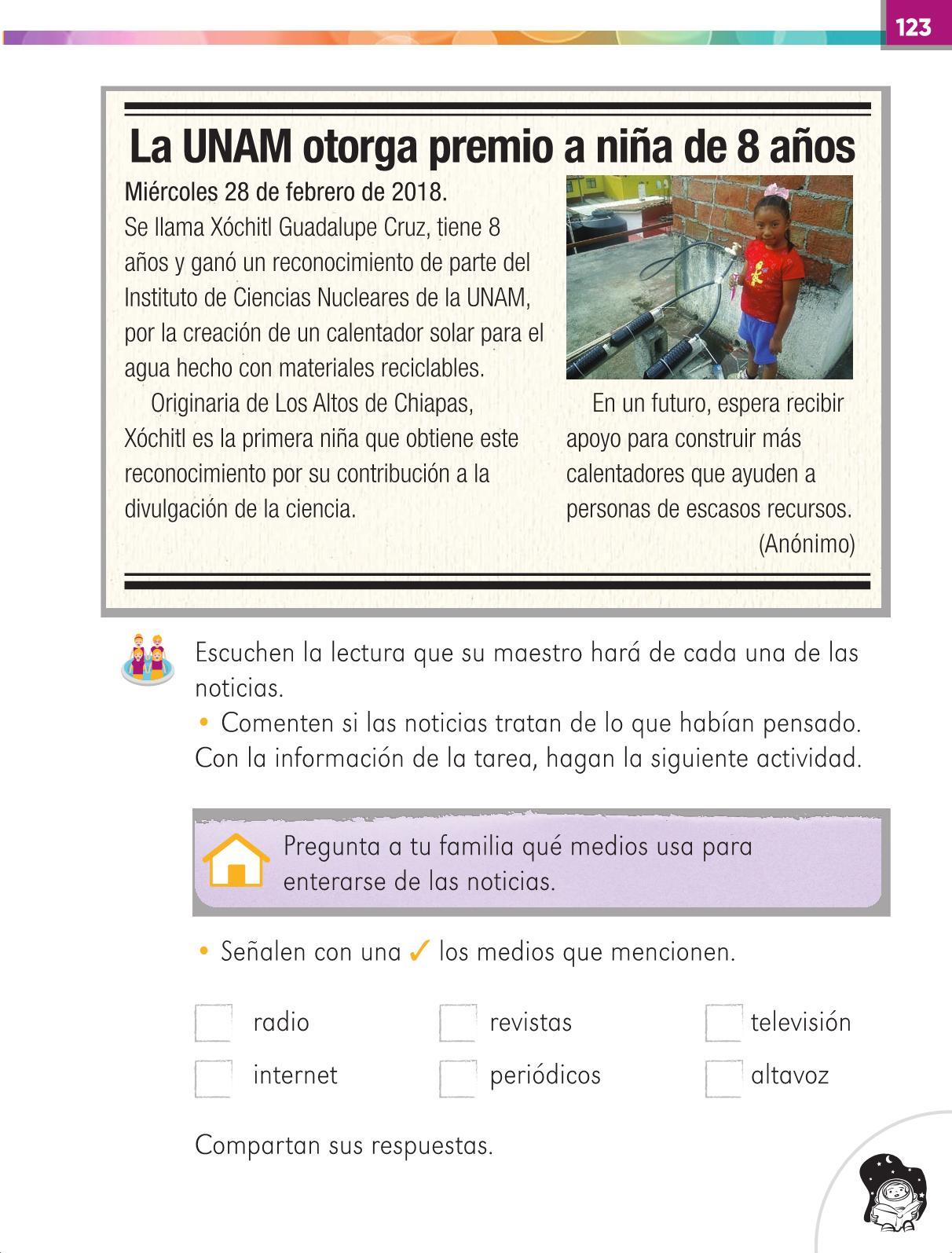 Lengua Materna Español Primer grado página 123