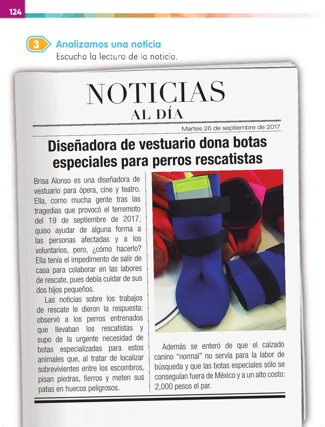 Lengua Materna Español Primer grado página 124