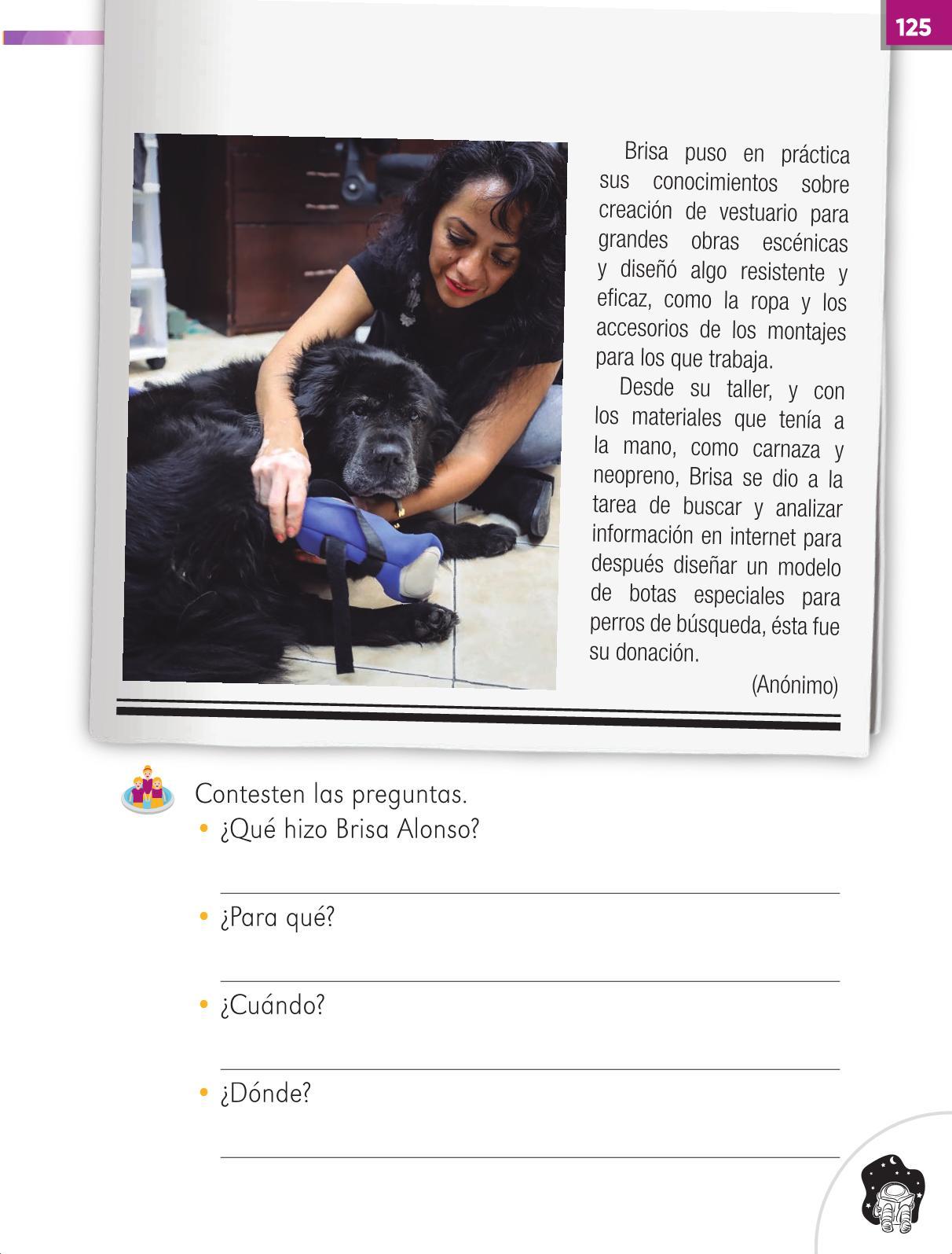 Lengua Materna Español Primer grado página 125