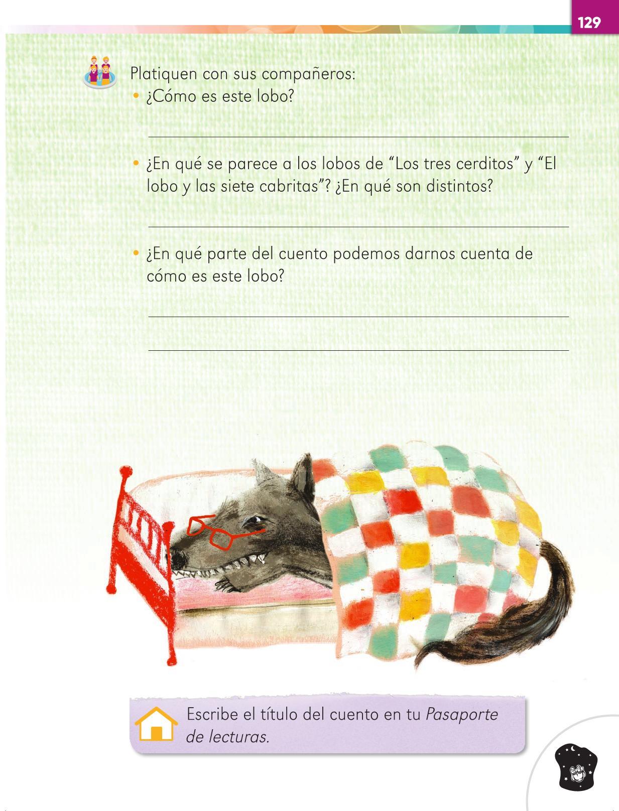 Lengua Materna Español Primer grado página 129