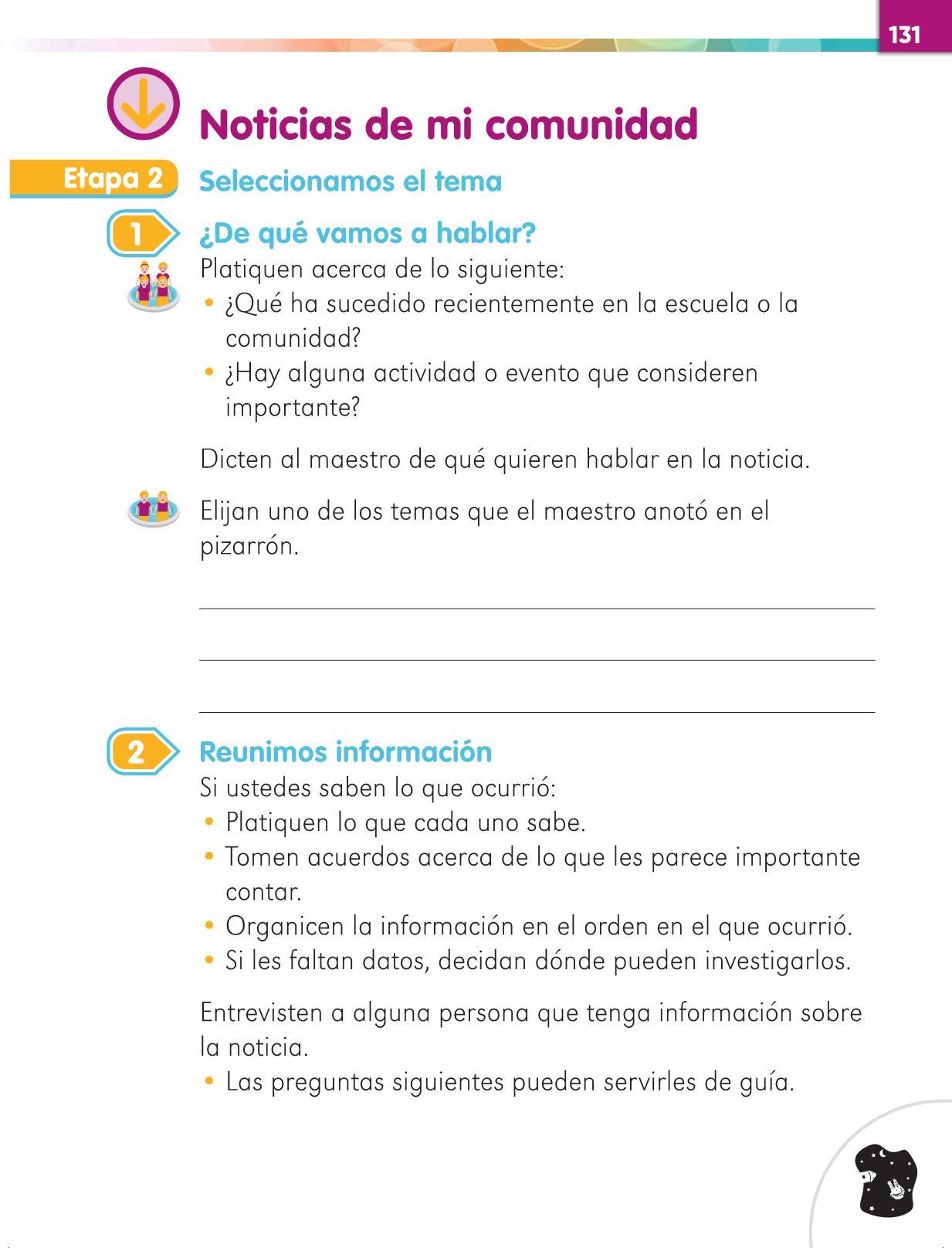 Lengua Materna Español Primer grado página 131