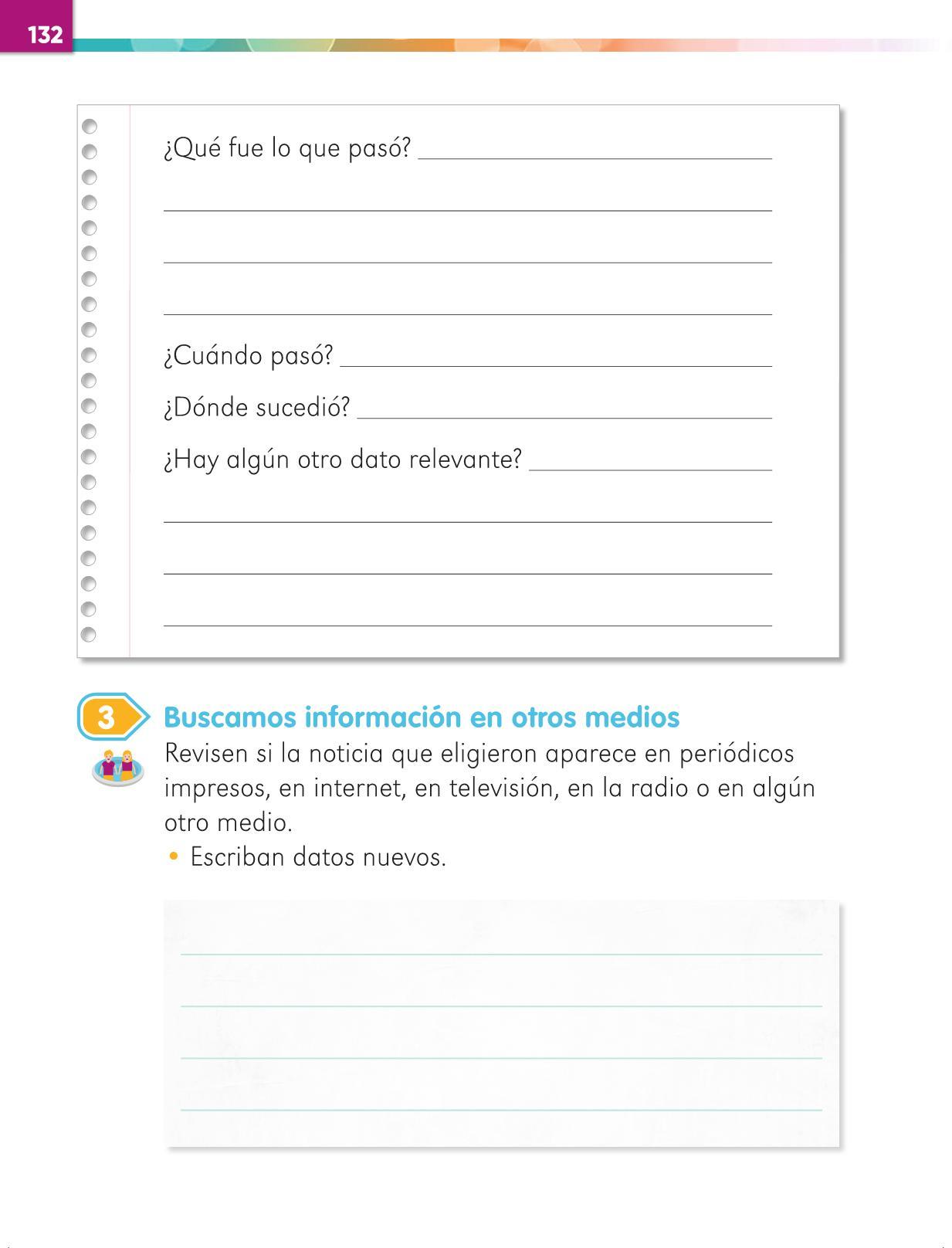 Lengua Materna Español Primer grado página 132