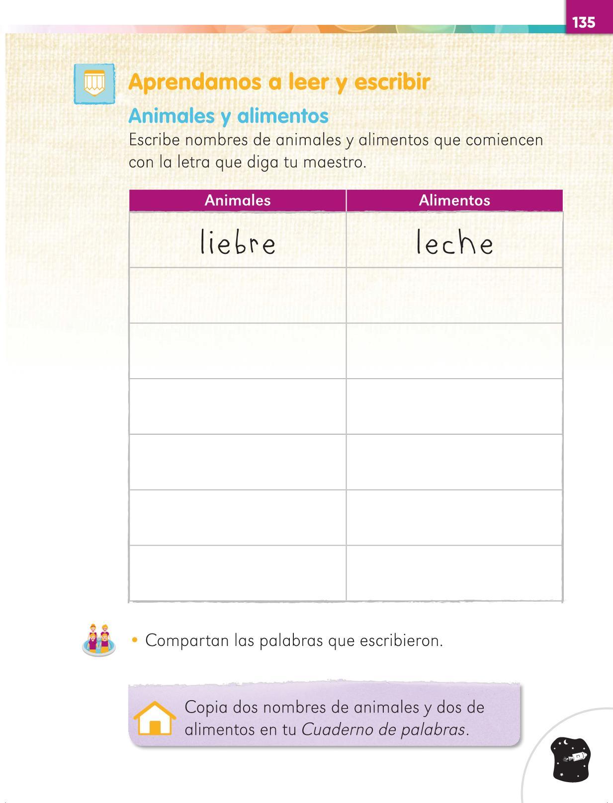 Lengua Materna Español Primer grado página 135