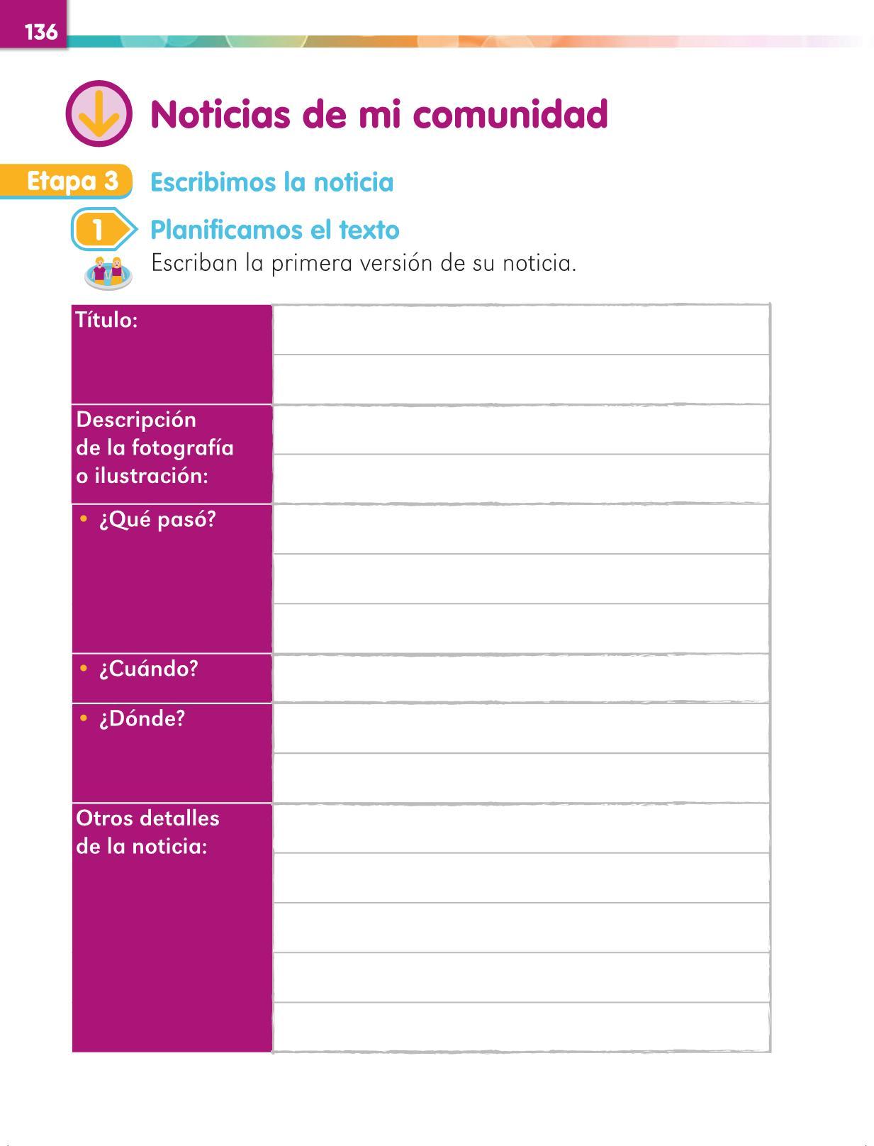 Lengua Materna Español Primer grado página 136