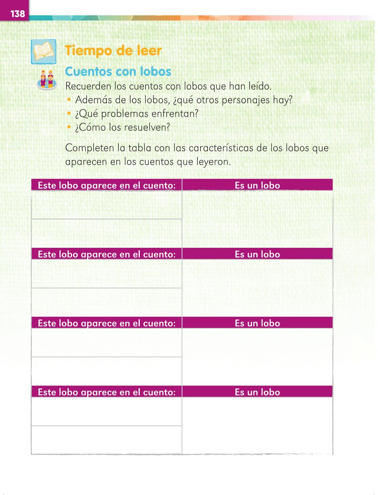 Lengua Materna Español Primer grado página 138