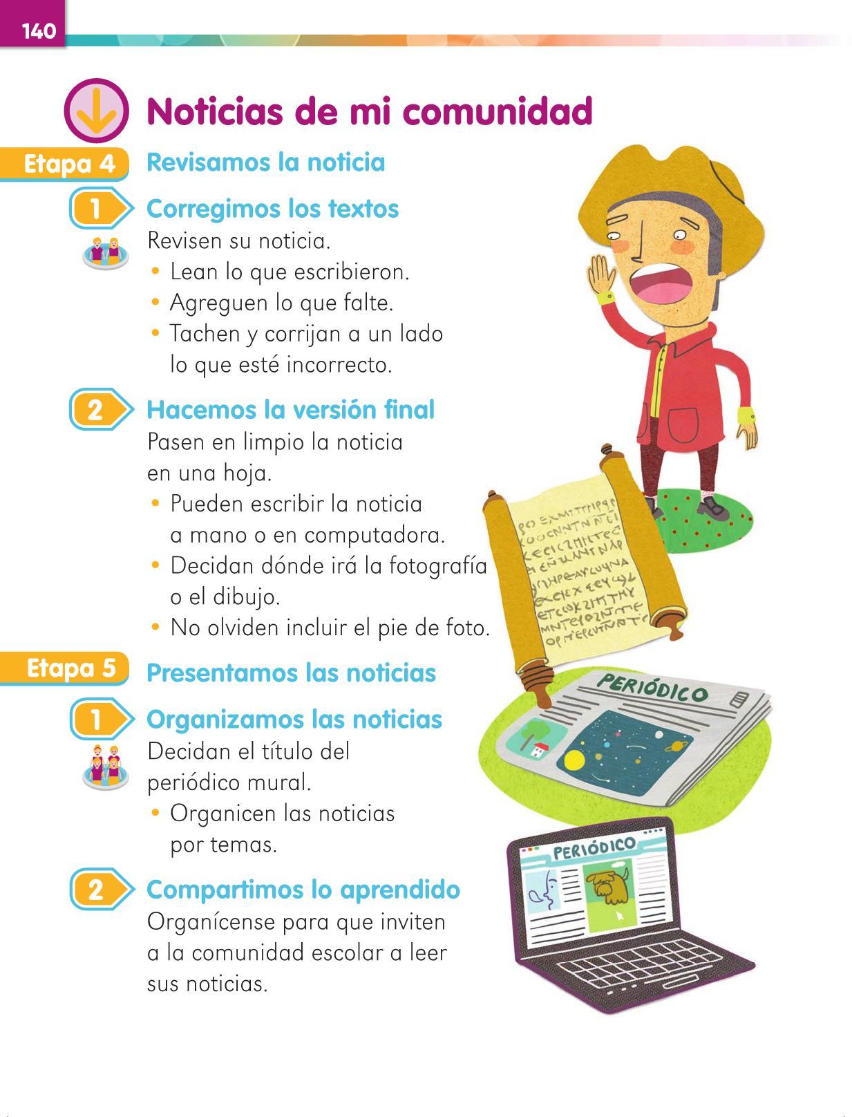 Lengua Materna Español Primer grado página 140
