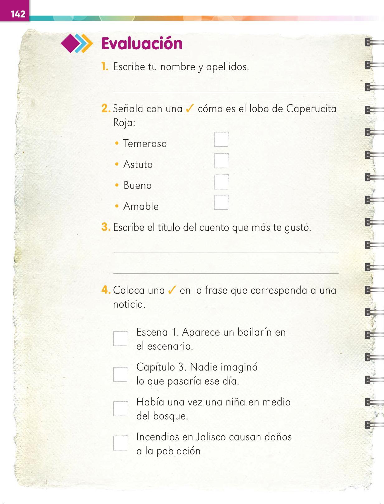 Lengua Materna Español Primer grado página 142