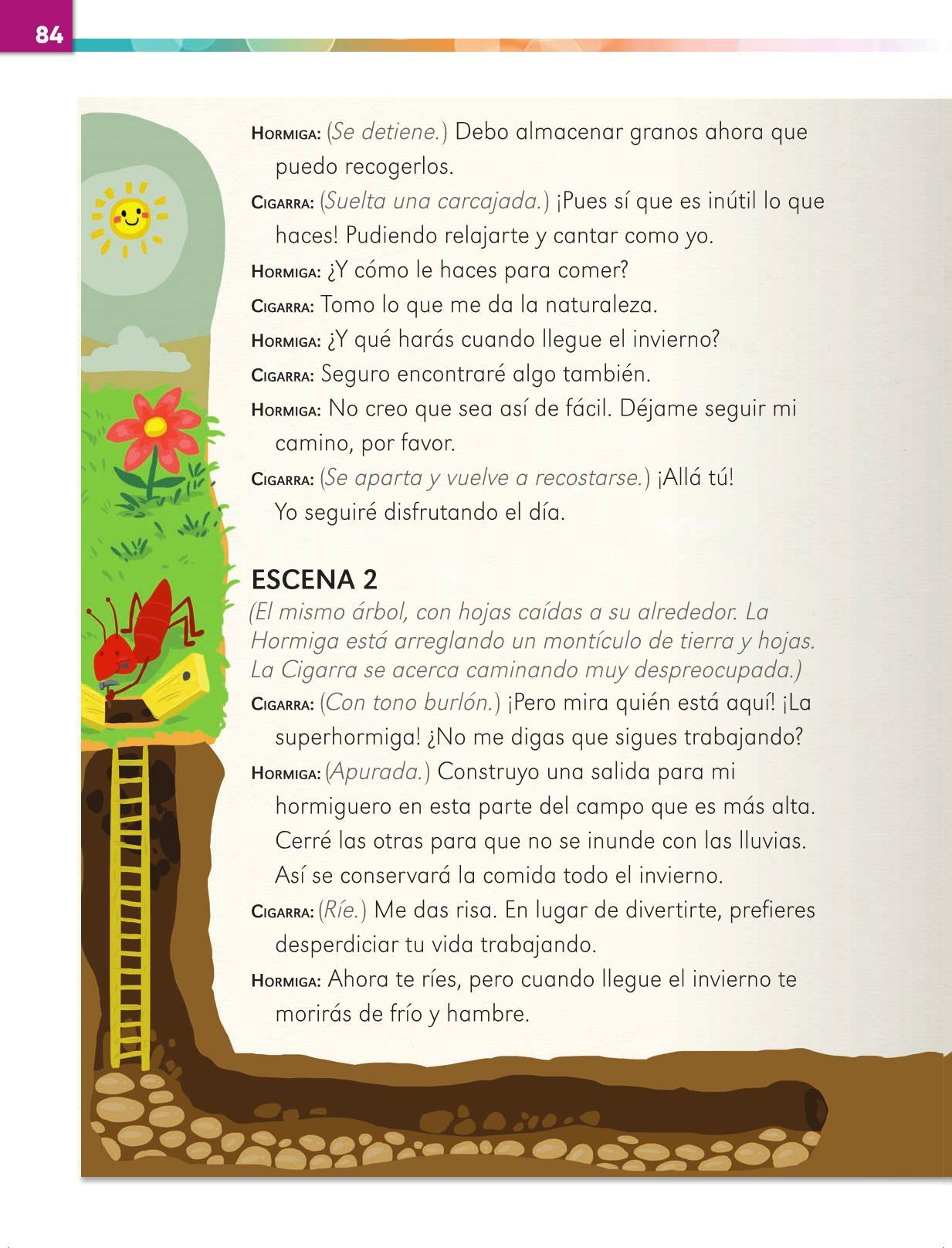 Lengua Materna Español Primer grado página 84