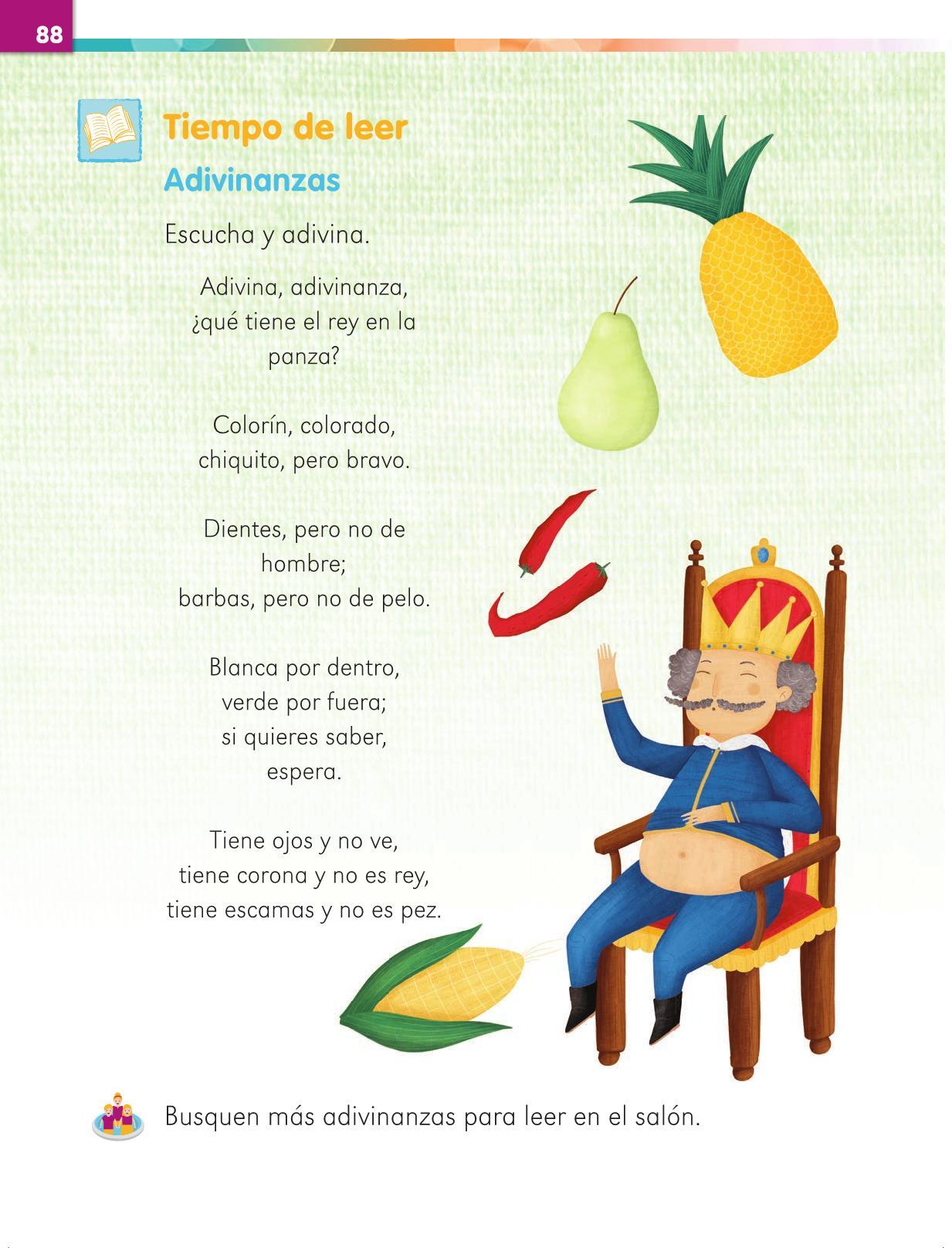 Lengua Materna Español Primer grado página 88