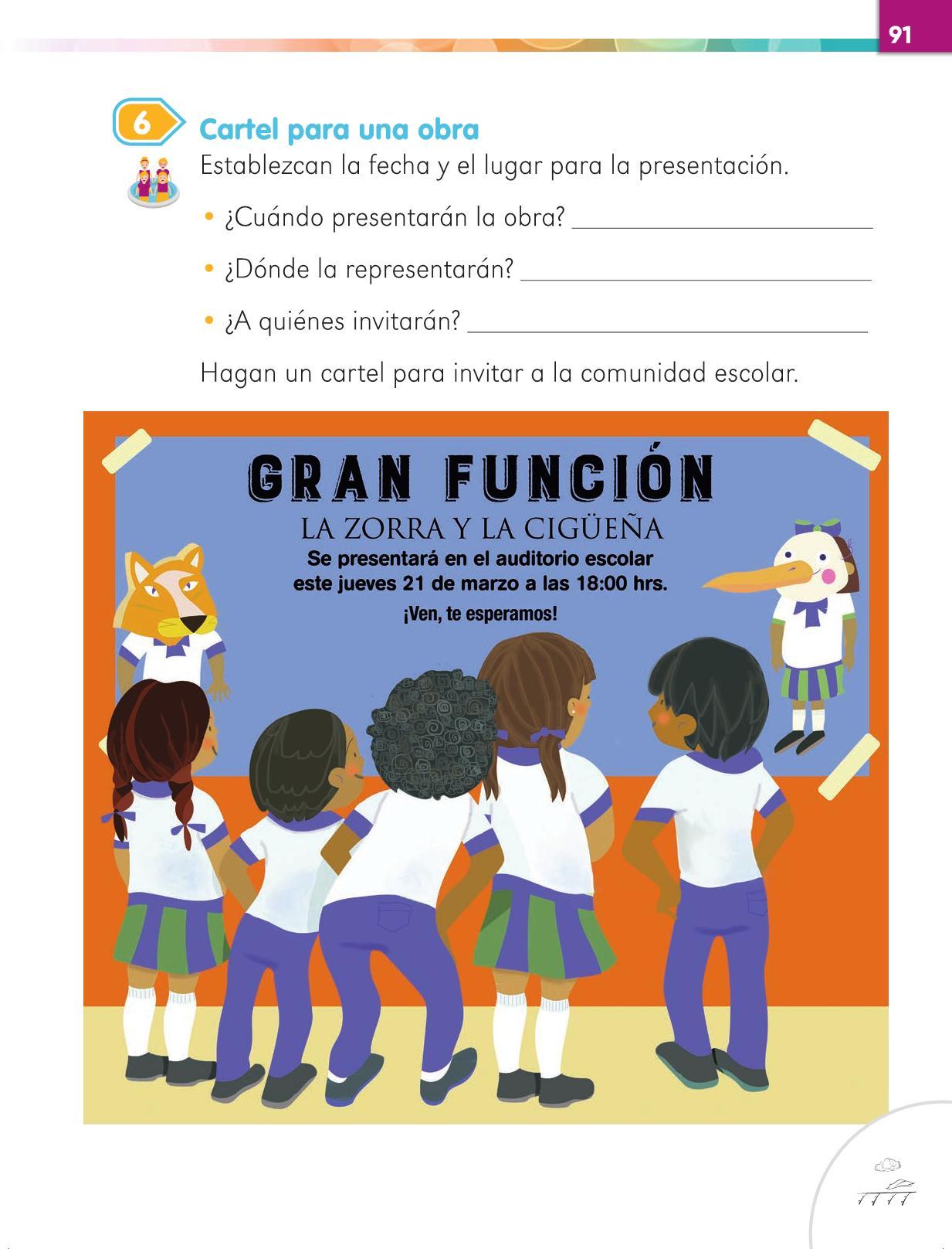 Lengua Materna Español Primer grado página 91