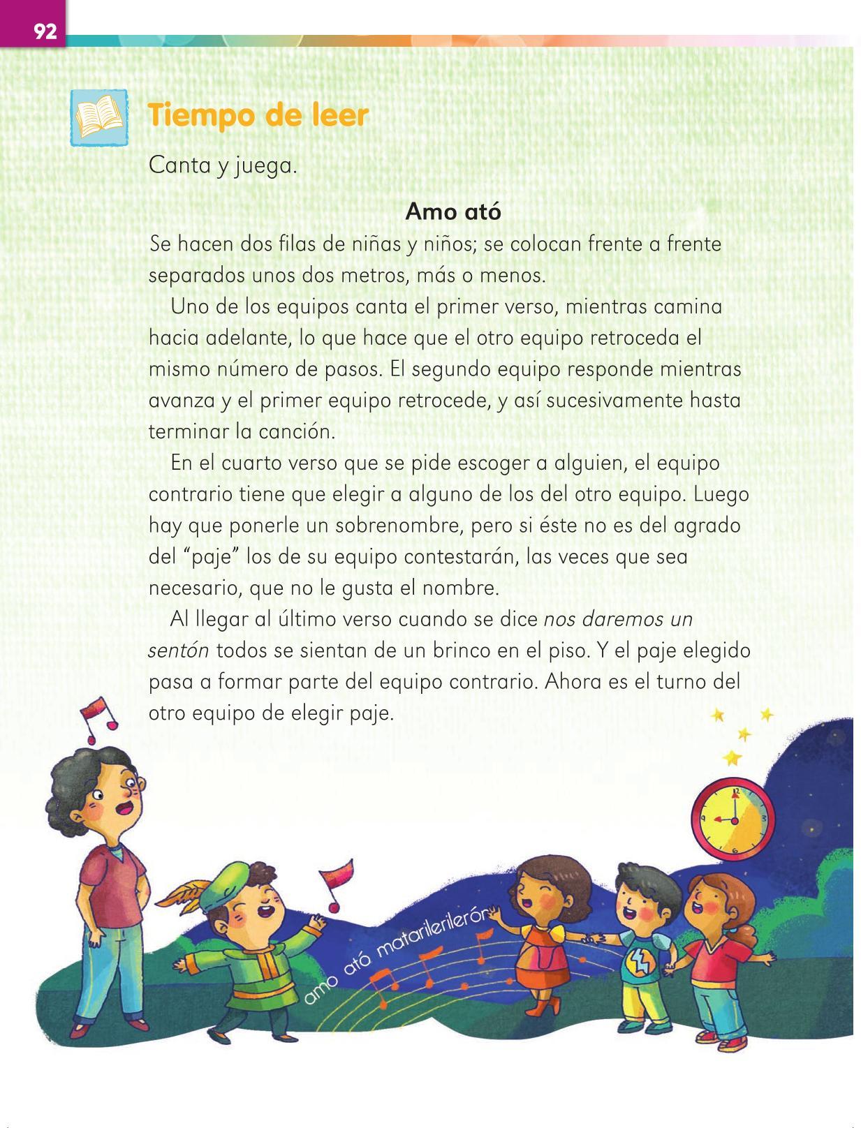 Lengua Materna Español Primer grado página 92