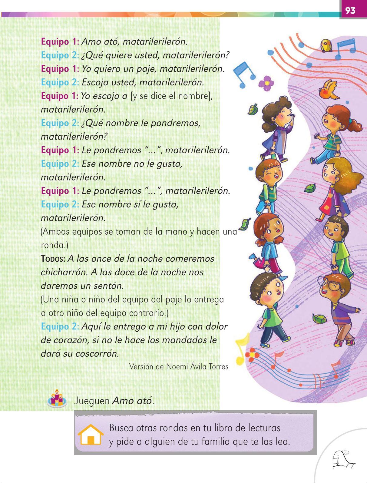 Lengua Materna Español Primer grado página 93