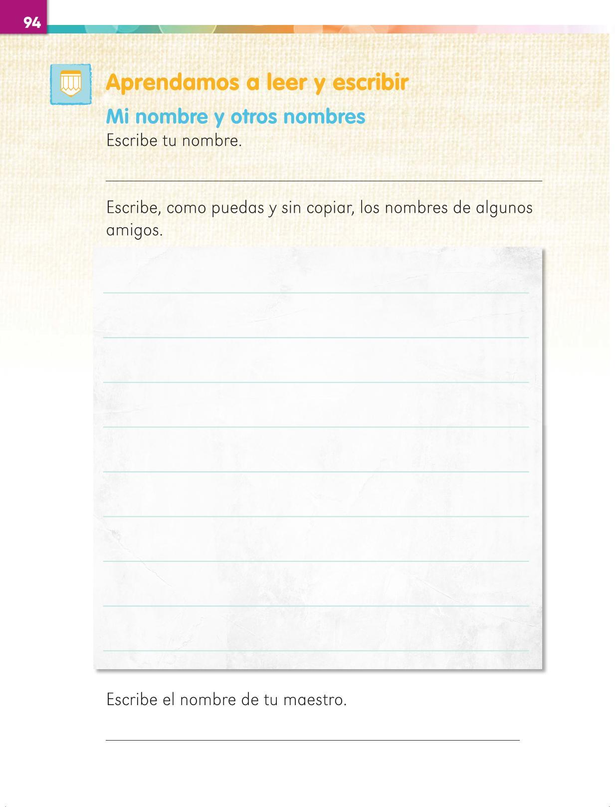Lengua Materna Español Primer grado página 94