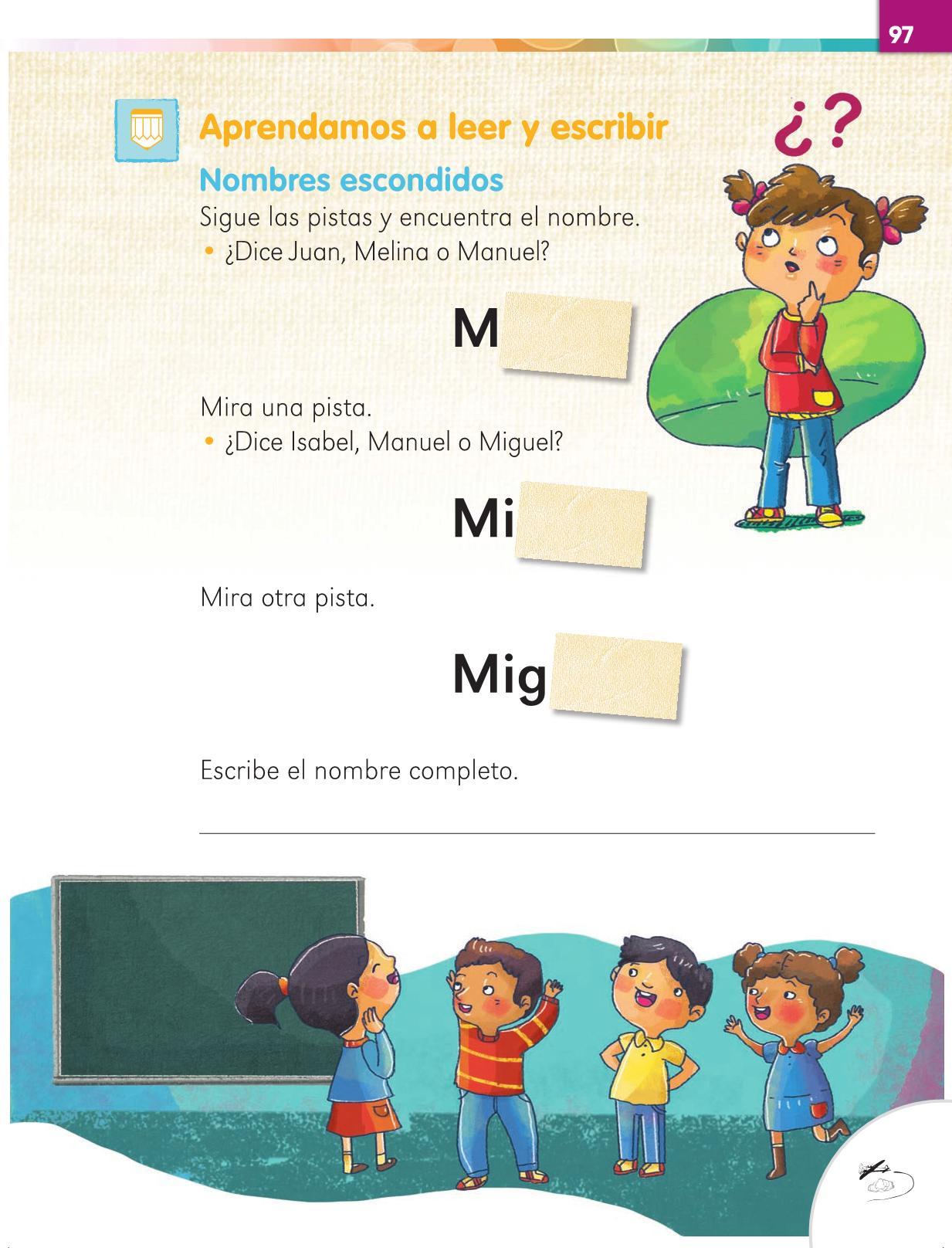 Lengua Materna Español Primer grado página 97